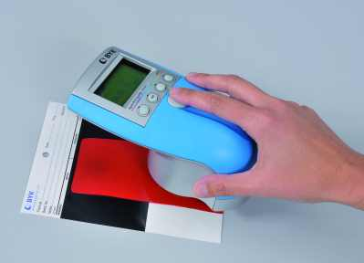 Measure a paint sample with a spectro-guide spectrophotometer. Photo Courtesy of BYK-Gardner.
